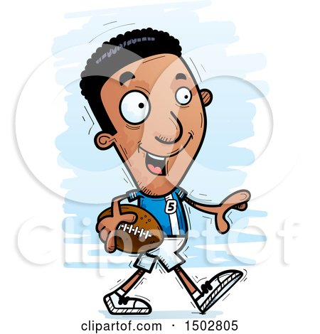 Clipart of a Walking Black Male Football Player - Royalty Free Vector Illustration by Cory Thoman