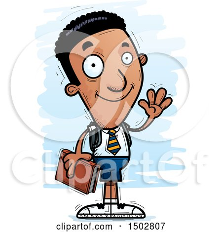 Clipart of a Waving Black Male College Student - Royalty Free Vector Illustration by Cory Thoman