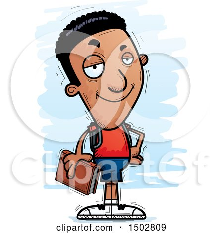 Clipart of a Confident Black Male Community College Student - Royalty Free Vector Illustration by Cory Thoman