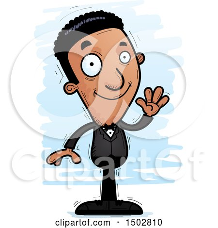 Clipart of a Waving African American Man in a Tuxedo - Royalty Free Vector Illustration by Cory Thoman