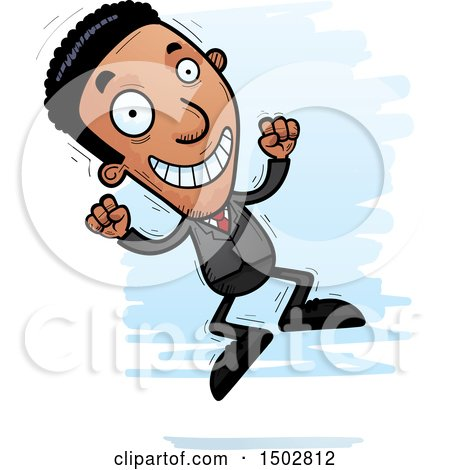 Clipart of a Jumping African American Business Man - Royalty Free Vector Illustration by Cory Thoman
