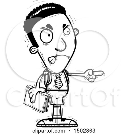 Clipart of a Black and White Mad Pointing Black Male College Student - Royalty Free Vector Illustration by Cory Thoman
