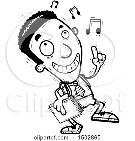 Clipart of a Black and White Black Male College Student Doing a Happy Dance - Royalty Free Vector Illustration by Cory Thoman