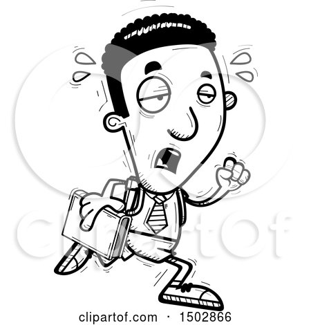 Clipart of a Black and White Tired Running Black Male College Student - Royalty Free Vector Illustration by Cory Thoman