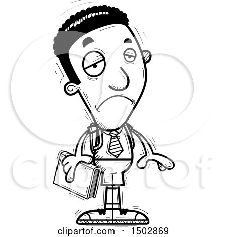 Clipart of a Black and White Sad Black Male College Student - Royalty Free Vector Illustration by Cory Thoman