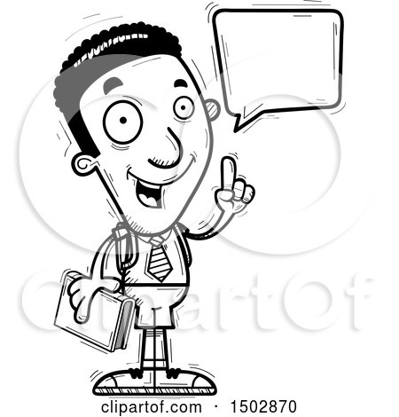 Clipart of a Black and White Talking Black Male College Student - Royalty Free Vector Illustration by Cory Thoman