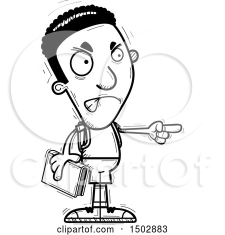 Clipart of a Black and White Mad Pointing Black Male Community College Student - Royalty Free Vector Illustration by Cory Thoman