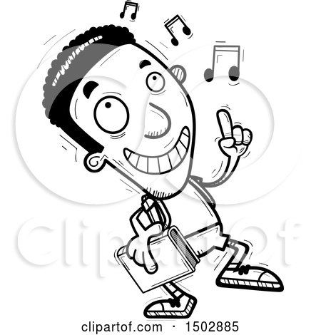 Clipart of a Black and White Black Male Community College Student Doing a Happy Dance - Royalty Free Vector Illustration by Cory Thoman