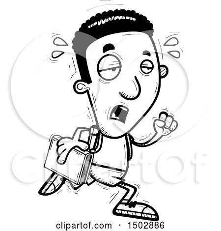 Clipart of a Black and White Tired Running Black Male Community College Student - Royalty Free Vector Illustration by Cory Thoman