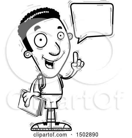 Clipart of a Black and White Talking Black Male Community College Student - Royalty Free Vector Illustration by Cory Thoman