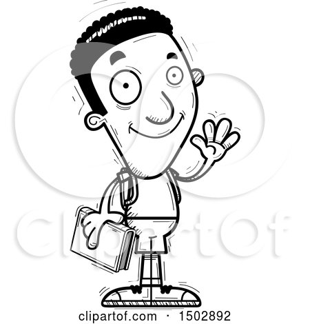 Clipart of a Black and White Waving Black Male Community College Student - Royalty Free Vector Illustration by Cory Thoman