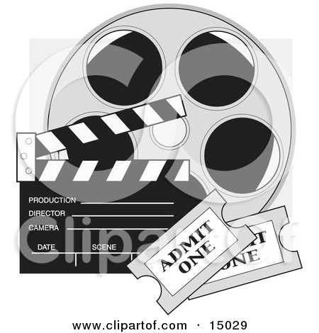 Two Movie Tickets In Front Of A Take Clapperboard And A Reel Of Movie Film Clipart Illustration by Maria Bell