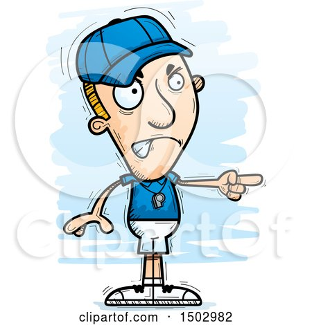 Clipart of a Mad Pointing White Male Basketball Player - Royalty Free Vector Illustration by Cory Thoman