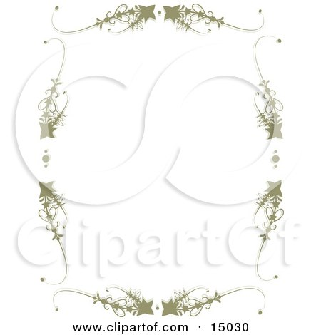 Light Brownish-Green Frame Consisting Of Stars And Scrolls Around A White Background, Which Would Be Great For Stationery Sheets Or A Website Border Clipart Illustration by Maria Bell