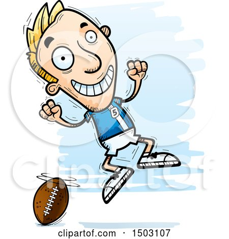 Clipart of a Jumping White Male Football Player - Royalty Free Vector Illustration by Cory Thoman