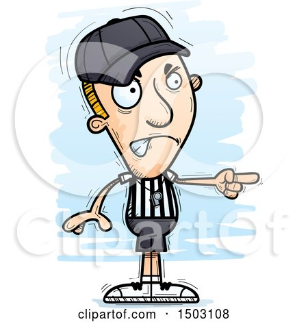 Clipart of a Mad Pointing White Male Referee - Royalty Free Vector Illustration by Cory Thoman
