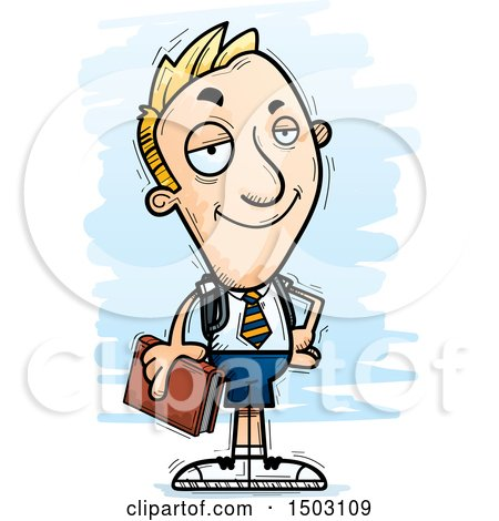 Clipart of a Confident White Male Private School Student - Royalty Free Vector Illustration by Cory Thoman