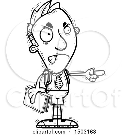 Clipart of a Black and White Mad Pointing Male Private School Student - Royalty Free Vector Illustration by Cory Thoman