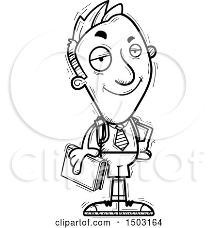 Clipart of a Black and White Confident Male Private School Student - Royalty Free Vector Illustration by Cory Thoman