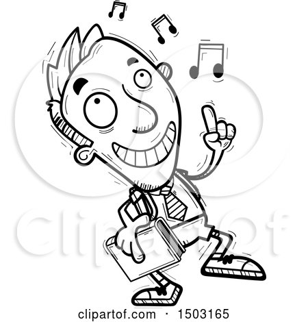Clipart of a Black and White Male Private School Student Doing a Happy Dance - Royalty Free Vector Illustration by Cory Thoman