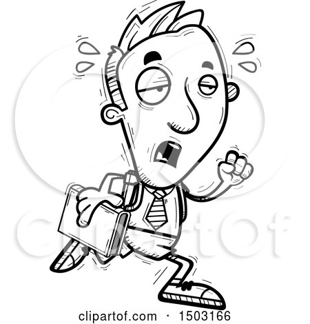 Clipart of a Black and White Tired Running Male Private School Student - Royalty Free Vector Illustration by Cory Thoman