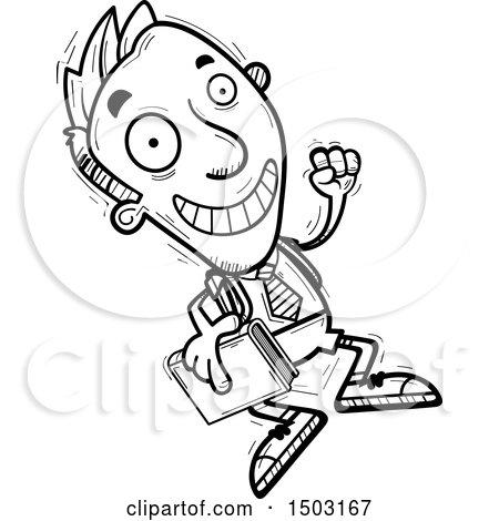 Clipart of a Black and White Jumping Male Private School Student - Royalty Free Vector Illustration by Cory Thoman