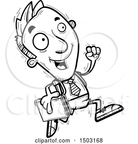 Clipart of a Black and White Running Male Private School Student - Royalty Free Vector Illustration by Cory Thoman