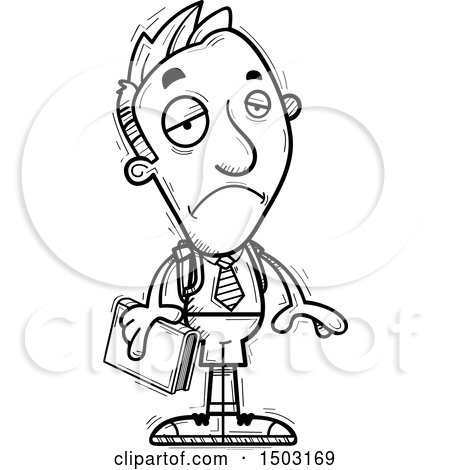 Clipart of a Black and White Sad Male Private School Student - Royalty Free Vector Illustration by Cory Thoman