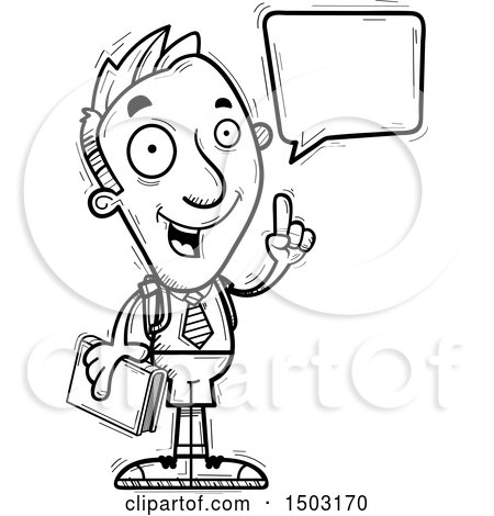 Clipart of a Black and White Talking Male Private School Student - Royalty Free Vector Illustration by Cory Thoman