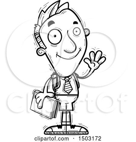 Clipart of a Black and White Waving Male Private School Student - Royalty Free Vector Illustration by Cory Thoman