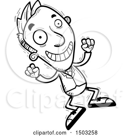 Clipart Of A Black And White Jumping Energetic Caucasian Business