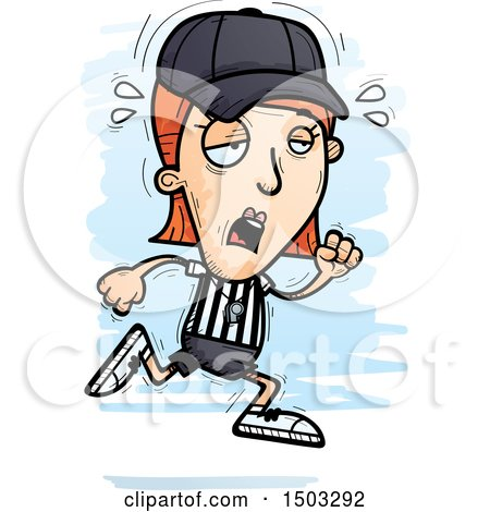 Clipart of a Tired Running White Female Referee - Royalty Free Vector Illustration by Cory Thoman