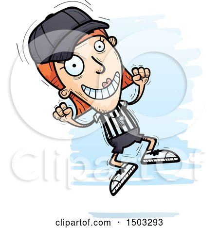 Clipart of a Jumping White Female Referee - Royalty Free Vector Illustration by Cory Thoman