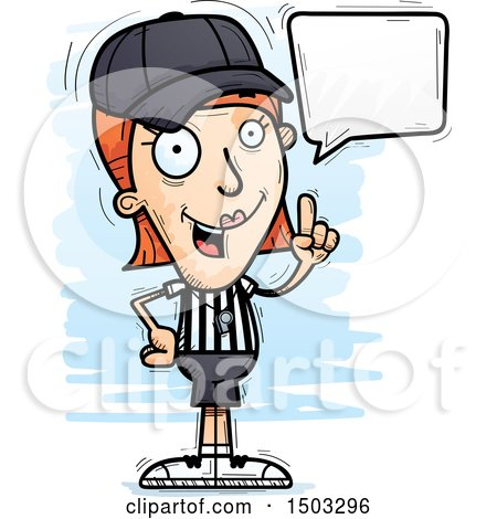 Clipart of a Talking White Female Referee - Royalty Free Vector Illustration by Cory Thoman