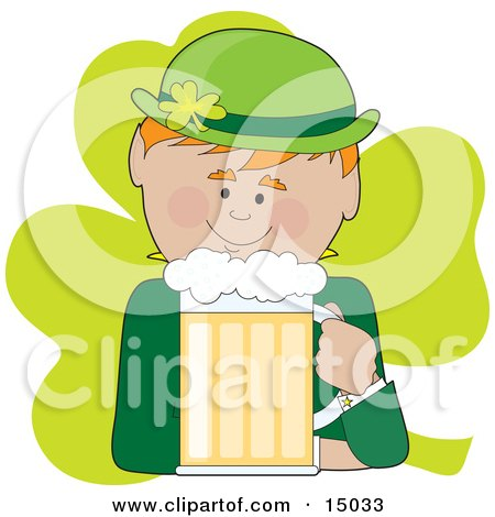 Ginger Haired Male Irish Leprechaun In Green, Drinking A Frothy Mug Of Beer Clipart Illustration by Maria Bell