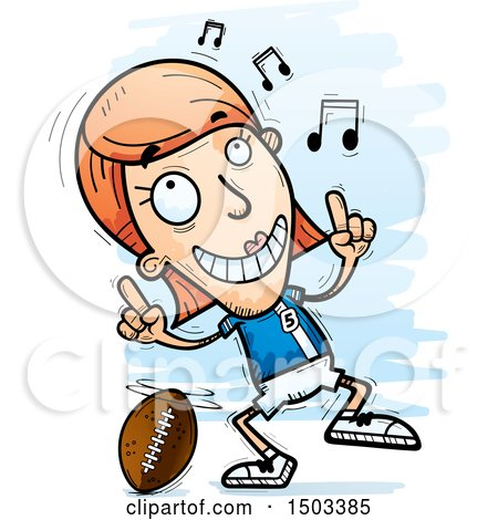 Clipart of a White Female Football Player Doing a Happy Dance - Royalty Free Vector Illustration by Cory Thoman