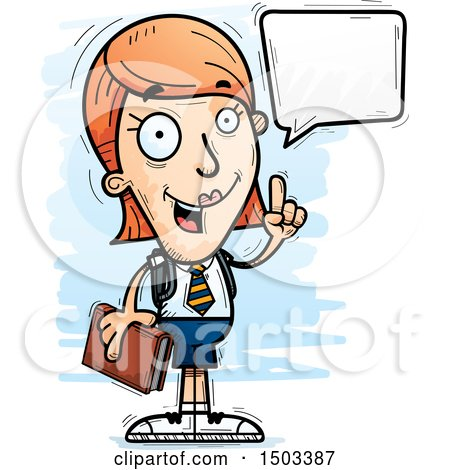 Clipart of a Talking White Female College Student - Royalty Free Vector Illustration by Cory Thoman