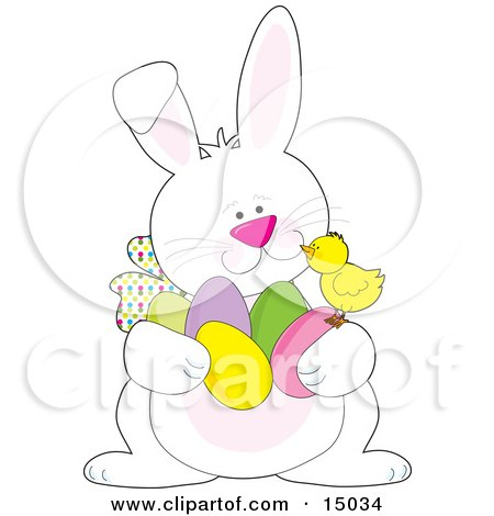 Cute Yellow Baby Chick Sitting Chatting With A White Easter Bunny Who Is Carrying An Armful Of Colored Easter Eggs Posters, Art Prints