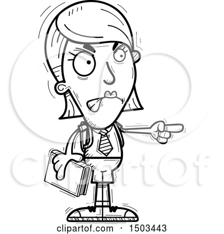 Clipart of a Black and White Mad Pointing White Female College Student - Royalty Free Vector Illustration by Cory Thoman
