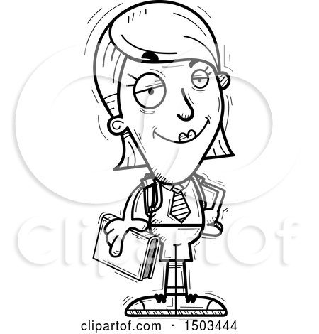 Clipart of a Black and White Confident White Female College Student - Royalty Free Vector Illustration by Cory Thoman