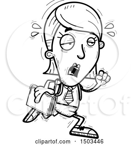 Clipart of a Black and White Tired Running White Female College Student - Royalty Free Vector Illustration by Cory Thoman
