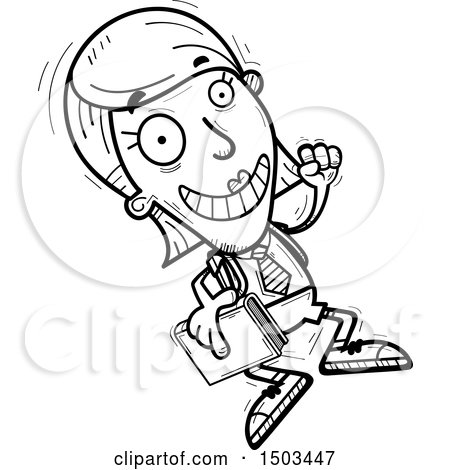 Clipart of a Black and White Jumping White Female College Student - Royalty Free Vector Illustration by Cory Thoman