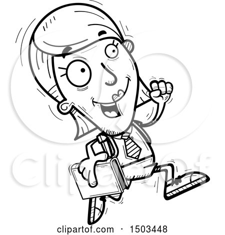 Clipart of a Black and White Running White Female College Student - Royalty Free Vector Illustration by Cory Thoman