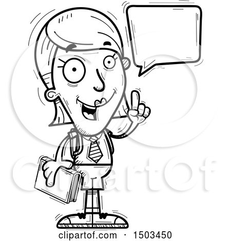 Clipart of a Black and White Talking White Female College Student - Royalty Free Vector Illustration by Cory Thoman