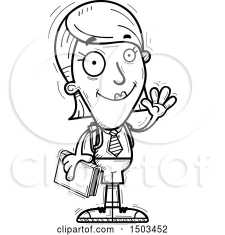 Clipart of a Black and White Waving White Female College Student - Royalty Free Vector Illustration by Cory Thoman