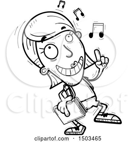 Clipart Of A Black And White White Female Student Doing A Happy