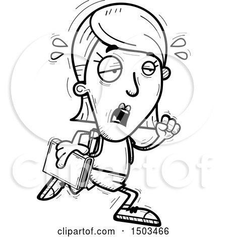 Clipart of a Black and White Tired Running White Female Student - Royalty Free Vector Illustration by Cory Thoman