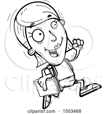 Clipart of a Black and White Running White Female Student - Royalty Free Vector Illustration by Cory Thoman