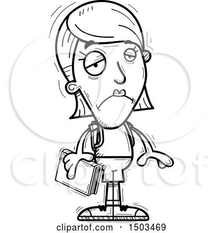 Clipart of a Black and White Sad White Female Student - Royalty Free Vector Illustration by Cory Thoman
