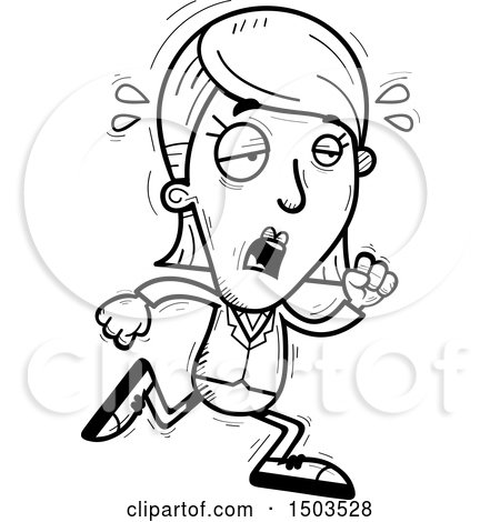 Clipart Of A Black And White Tired Running Business Woman